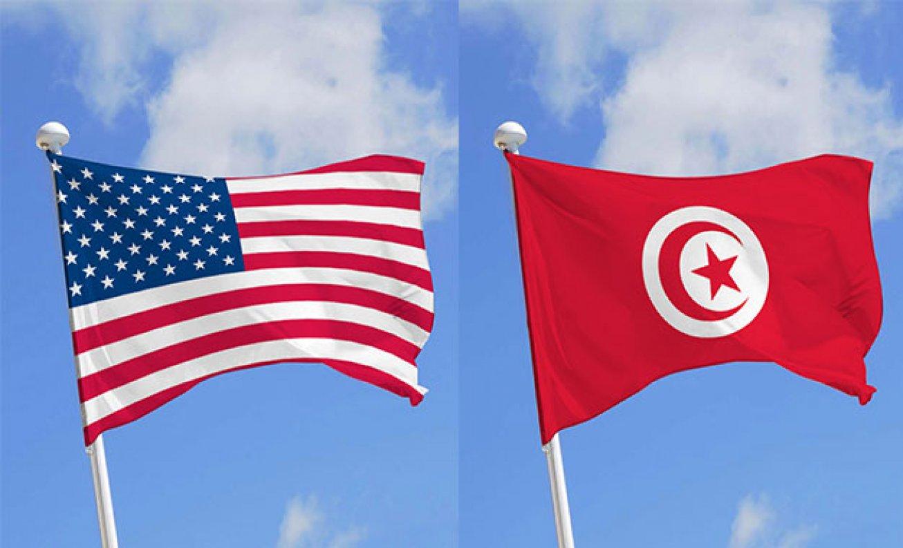 Drapeau des Etats Unis et de la Tunisie